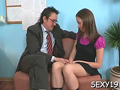 Fascinating babe is getting her twat fucked by tutor from behind