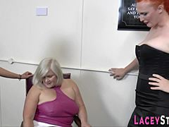 Granny receives cookie pleased with mouth in les 3way HD porn