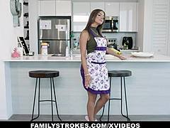Familystrokes - gross arse mom teases her stepson and obtains slammed excitedly